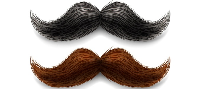 fake moustaches illustration in two different colors