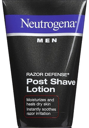 a bottle of Neutrogena post shave lotion