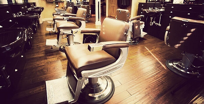 the luxurious interior of the Frank's barber shop