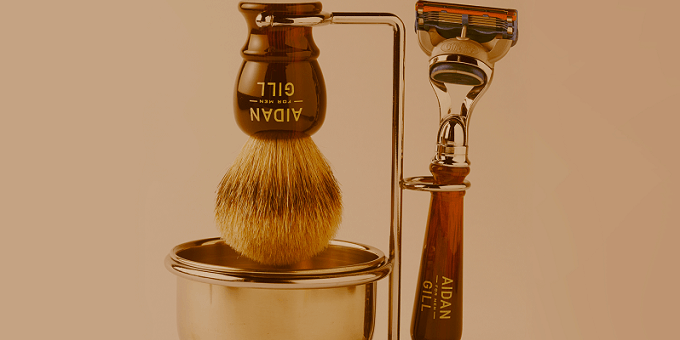 barber tools branded with the Aidan Gill logo