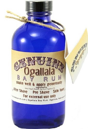 a bottle of Ogallala Bay Rum aftershave