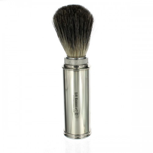 Chrome travel shaving brush on white background