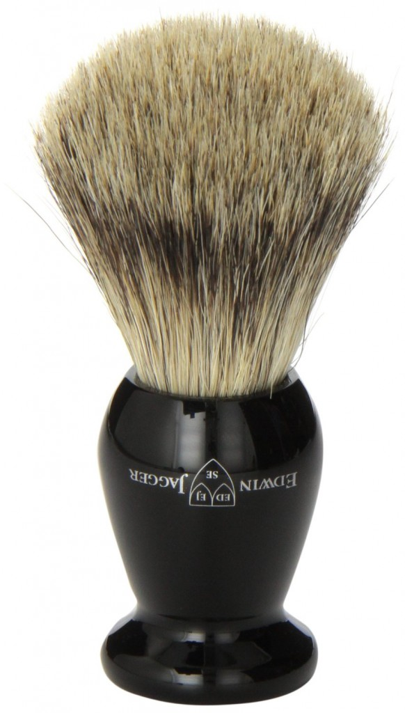 Edwin Jagger Best Badger Shaving Brush with Drip Stand, Imitation Ebony Medium
