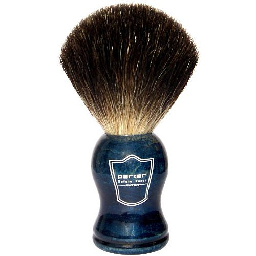 Parker Safety Razor 100 Black Badger Bristle Shaving Brush with Blue Wood Handle & Free Stand