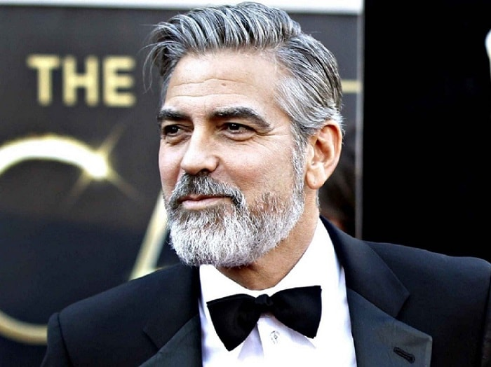 the actor George Clooney wearing a round beard