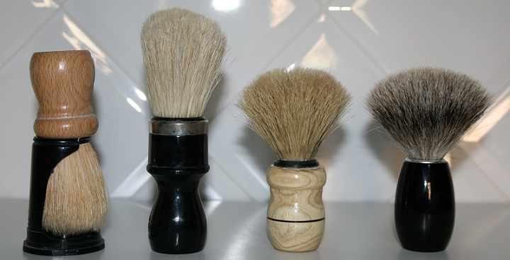 four types of synthetic shaving brush