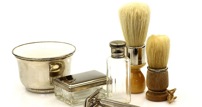 a vintage set of shaving tools