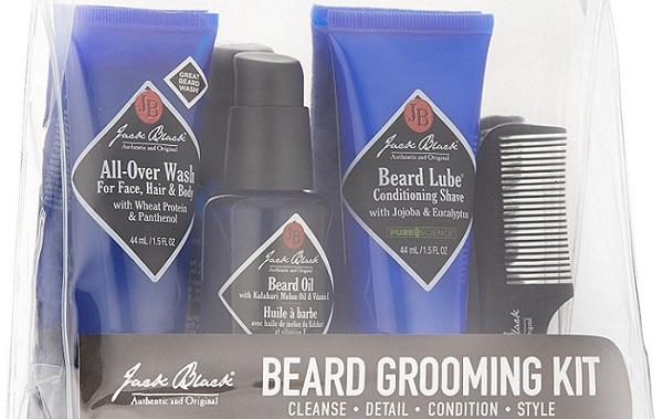 a Jack Black beard grooming kit in its transparent bag