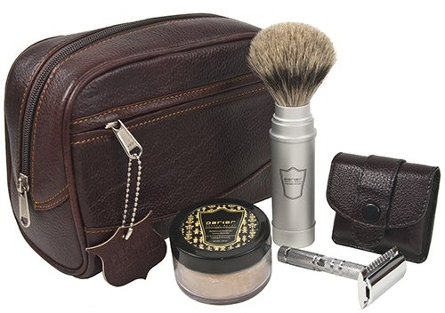 a luxury travel shaving kit