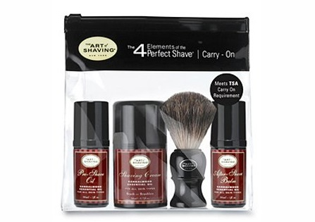 a small carry on shaving kit from the Art of Shaving brand