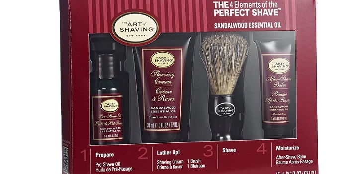 a red package of The Art of Shaving Kit