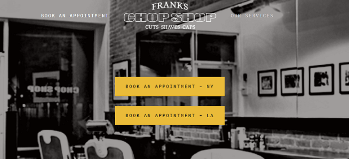 a screenshot of the Frank's Chop Shop barber website