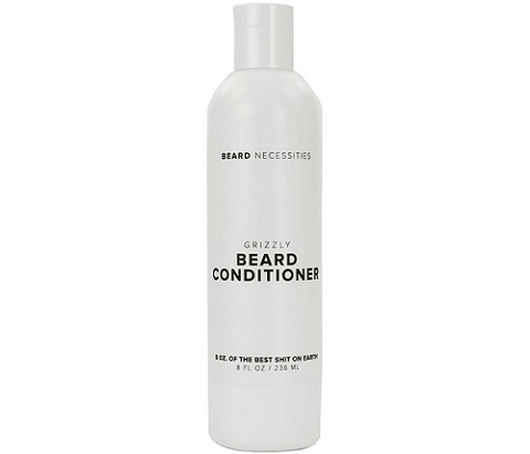 a white bottle of Grizzly Beard Conditioner