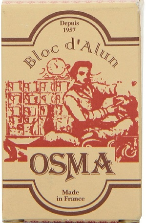 a bar of Bloc Osma Alum Block, 2.65 Ounce wrapped in its branded package