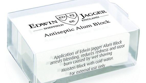 a bar of Edwin Jagger Alum Block, 54g wrapped in its branded package