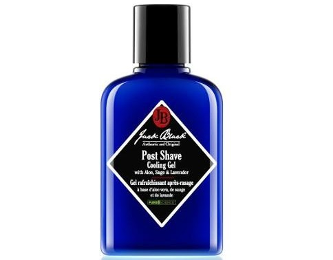 a blue container of Jack Black post shave cooling gel