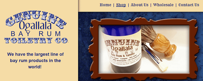 the Ogallala Bay Rum aftershave website homepage