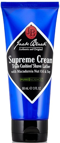 a black and blue bottle of Jack Black shaving cream