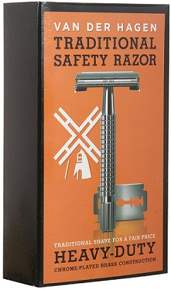 a small black and orange Van der Hagen traditional safety razor box