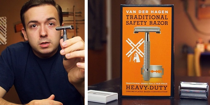 a collage of two images, one showing the Van der Hagen safety razor box and the other featuring a young man giving a van der hagen razor review