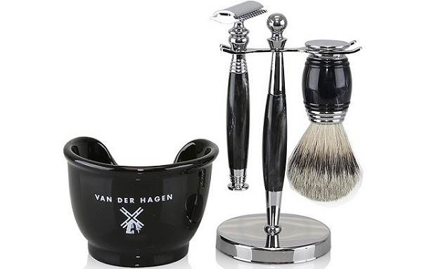 the pieces that make the traditional van der hagen shave set