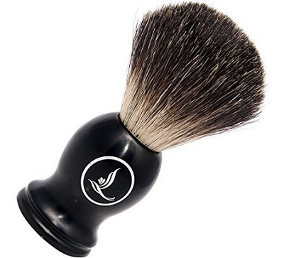 a Latherwhip Best Badger Shaving Brush with Resin black Handle