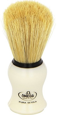an Omega 10066 shaving brush with mock ivory handle
