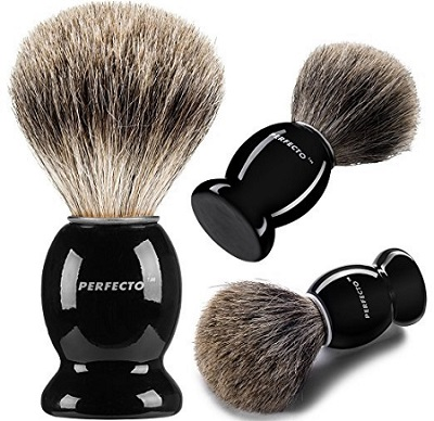 three Perfecto pure badger shaving brushes