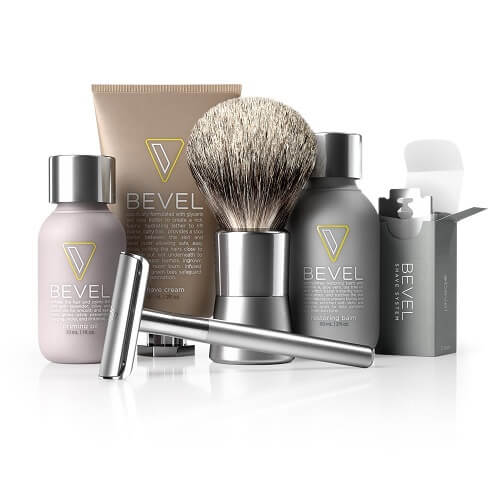 Bevel Shave System shaving kit with razor, brush, creams, lotions