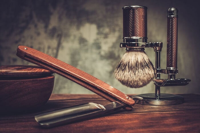 luxury shaving kit on an old school stand