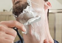 shaving the beard with a straight razor