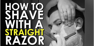 Man-Shaving-his-face-using-Straight-Razor
